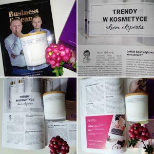W październiku 2019 mój artykuł pt. Trendy w kosmetyce został wydrukowany w rubryce Okiem Eksperta w Magazynie Business&Beauty firmy Souvre.