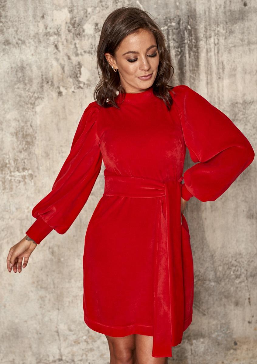 czerwona sukienka z weluru Mosquito