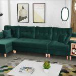 Stylowy skandynawski narożnik w stylu vintage w kolorze butelkowej zieleni