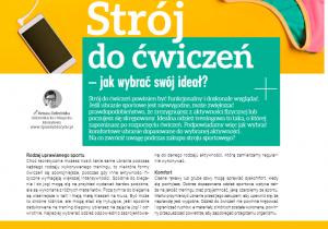 Mój artykuł pt. Strój do ćwiczeń - jak wybrać ideał? w magazynie Rodzina Zdrowia nr 20/2020